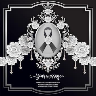 Modelo de cartão fúnebre com fita preta e flores brancas