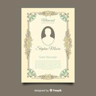 Modelo de cartão funeral vintage