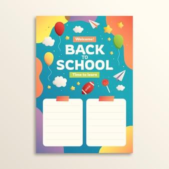 Modelo de cartão gradiente de volta à escola
