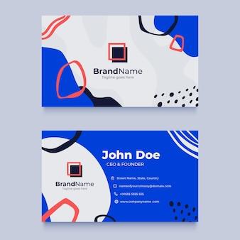 Modelo de cartão horizontal de formas planas e abstratas desenhadas à mão