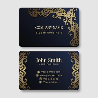 Modelo de cartão horizontal de luxo dourado gradiente
