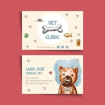Modelo de cartão horizontal frente e verso para clínica veterinária