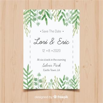 Modelo de cartão lindo casamento com folhas de aquarela