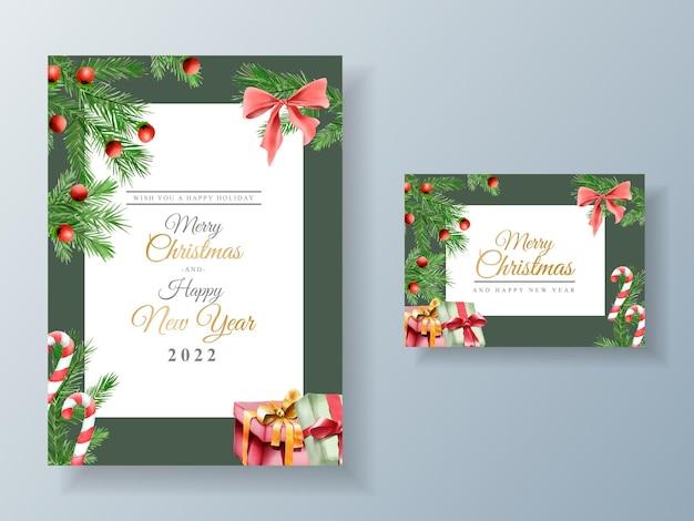 Modelo de cartão lindo com ornamen floral e natal