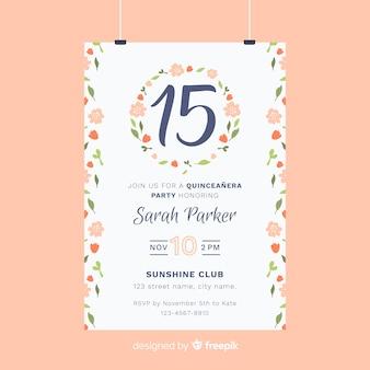 Modelo de cartão mão desenhada floral grinalda quinceanera