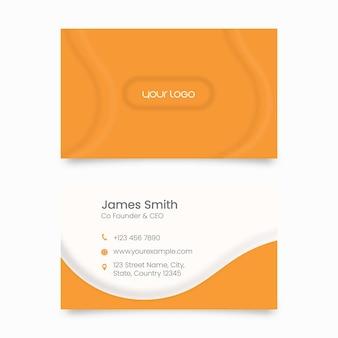 Modelo de cartão moderno com dupla face na cor laranja e branco.