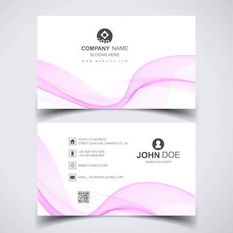 Modelo de cartão moderno com onda rosa