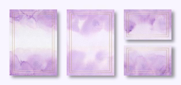 Modelo de cartão multiuso aquarela violeta com moldura dourada