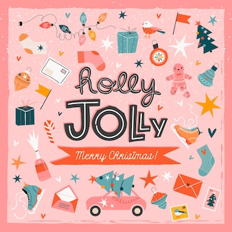 Modelo de cartão na moda de natal holly jolly rosa.