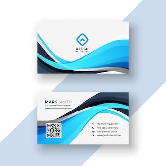 Modelo de cartão ondulado azul abstrato