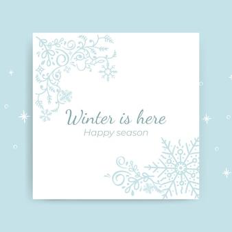 Modelo de cartão ornamental de inverno