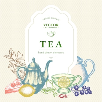 Modelo de cartão ou cartaz de chá