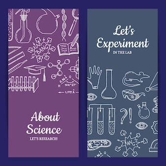 Modelo de cartão ou folheto com elementos de ciência ou química esboçados