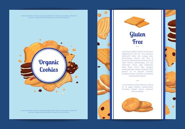 Modelo de cartão ou folheto definido com lugar para texto e com ilustração de cookies dos desenhos animados