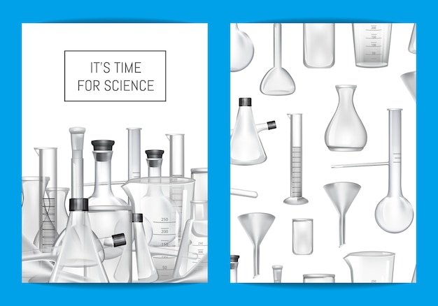 Modelo de cartão, panfleto ou brochura para aulas de laboratório químico ou chemitry com tubos de vidro e lugar para texto