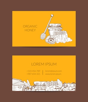 Modelo de cartão para fazendeiro de mel ou loja com elementos de tema de contorno com mel esboçado