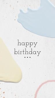 Modelo de cartão pastel de feliz aniversário