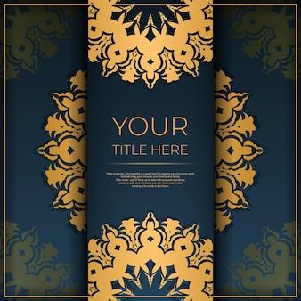 Modelo de cartão postal azul escuro com ornamento abstrato. elementos do vetor elegantes e clássicos prontos para impressão e tipografia.