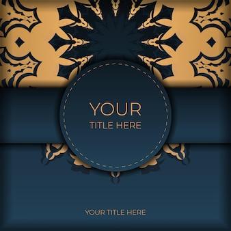 Modelo de cartão postal azul escuro com ornamento abstrato. elementos elegantes e clássicos do vetor são ótimos para decoração.