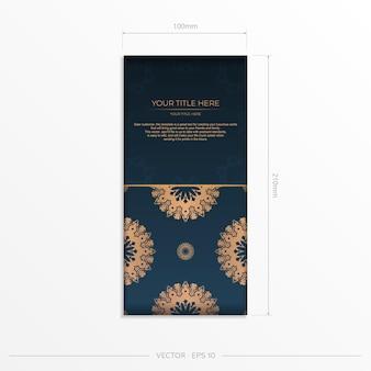 Modelo de cartão postal azul escuro com ornamento abstrato. elementos elegantes e clássicos prontos para impressão e tipografia. ilustração vetorial.