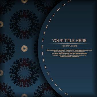 Modelo de cartão postal azul escuro com ornamento de mandala indiana. elementos elegantes e clássicos prontos para impressão e tipografia. ilustração vetorial.