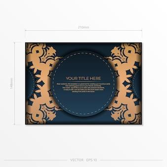Modelo de cartão postal azul escuro com ornamento de mandala indiana. vetor