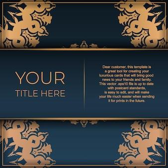 Modelo de cartão postal azul escuro com ornamento mandala abstrato. elementos elegantes e clássicos do vetor são ótimos para decoração.