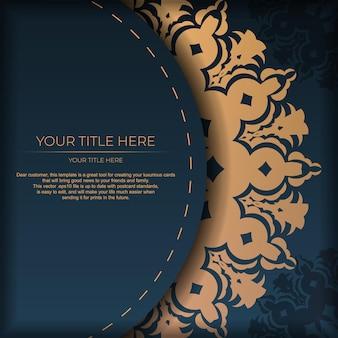 Modelo de cartão postal azul escuro com ornamento mandala abstrato. elementos elegantes e clássicos prontos para impressão e tipografia. ilustração vetorial.