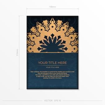 Modelo de cartão postal azul escuro com ornamento mandala abstrato. elementos elegantes e clássicos são ótimos para decoração. ilustração vetorial.
