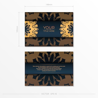 Modelo de cartão postal azul escuro com ornamentos indianos. elementos elegantes e clássicos prontos para impressão e tipografia. ilustração vetorial.