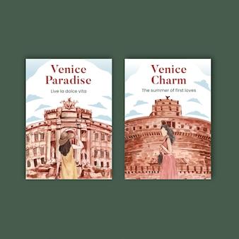 Modelo de cartão postal com conceito de férias de verão na itália, estilo aquarela