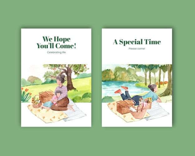 Modelo de cartão postal com design de conceito de viagem de piquenique para ilustração em aquarela de saudação e convite