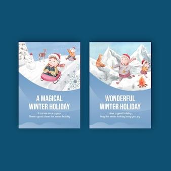 Modelo de cartão postal com inverno feliz em estilo aquarela