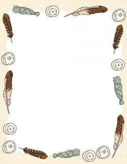 Modelo de cartão postal com velas, penas e manchas de sálvia varas doodles.