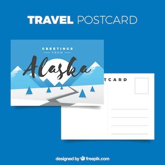 Modelo de cartão postal de alaska com design plano