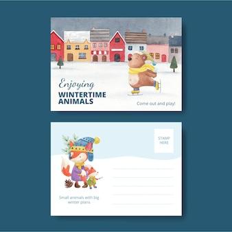 Modelo de cartão postal de animais de inverno