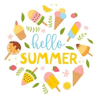 Modelo de cartão postal de banner ou impressão de verão com folhas de flores de sorvete. ilustração vetorial Vetor Premium
