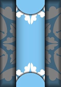 Modelo de cartão postal de cor azul com padrão branco vintage para a sua marca.