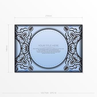 Modelo de cartão postal de cor azul vetor retangular com padrões pretos luxuosos. design de convite pronto para impressão com ornamentos vintage. Vetor Premium
