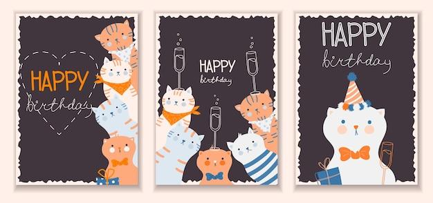 Modelo de cartão postal de feliz aniversário com gatos engraçados e caixa de presente