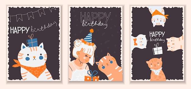 Modelo de cartão postal de feliz aniversário com uma linda garota de gatos engraçados e uma caixa de presente