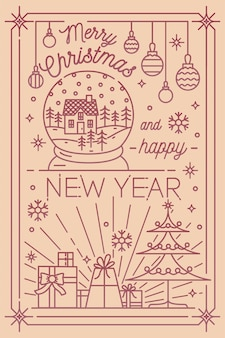 Modelo de cartão postal de feliz natal e feliz ano novo com decorações de inverno do feriado desenhadas em estilo de linha de arte - flocos de neve, árvore do abeto, presentes, enfeites, globo de neve. ilustração monocromática do vetor.