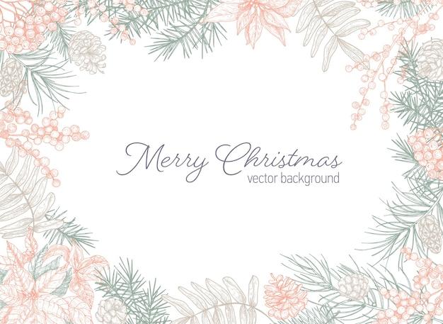 Modelo de cartão postal de férias com desejo de feliz natal e moldura feita de galhos de coníferas
