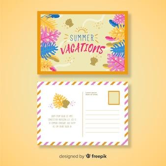 Modelo de cartão postal de férias de verão desenhada mão