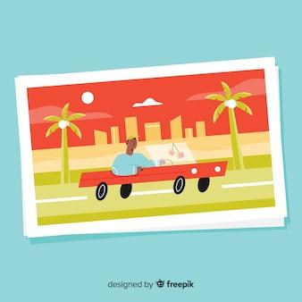 Modelo de cartão postal de férias de verão