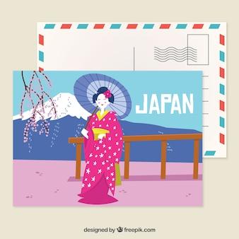 Modelo de cartão postal de japão com estilo mão desenhada