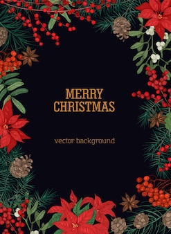Modelo de cartão postal de natal com desejo de feriado dentro da moldura feita de galhos e cones de pinheiros e abetos e plantas sazonais de inverno