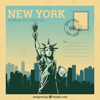Modelo de cartão postal de nova york com estilo desenhado de mão