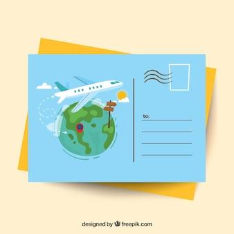 Modelo de cartão postal de viagem com avião liso
