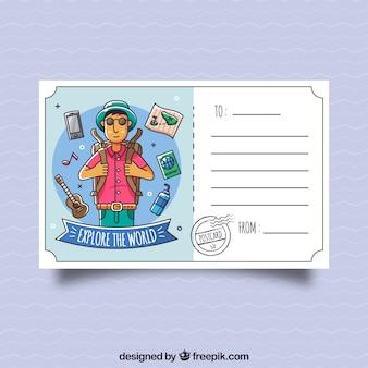 Modelo de cartão postal de viagem com caráter de mão desenhada